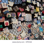 911-tribute-tiles-hanging-on-a-fence-in-nyc-DPD54A